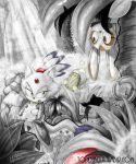 1girl blaze_the_cat chao chaos_emerald cream_the_rabbit forest monochrome nature sega sol_emerald sonic_the_hedgehog spot_color tail todd_l._milhouse