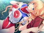 1girl anna_belmonte blonde_hair blue_eyes blush breasts dutch_angle game_cg highres large_breasts legs leotard long_hair looking_at_viewer marushin_(denwa0214) mole ponytail rain smile solo_focus standing supokon!_sports_wear_complex thighs track_jacket water wet wet_clothes