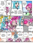 2girls ass bike_shorts blue_eyes blue_hair boots bow clenched_teeth comic constricted_pupils cure_blossom cure_marine failure female glint hair_bow hanasaki_tsubomi heartcatch_precure! hip_attack kanchou kurumi_erika long_hair magical_girl multiple_girls open_mouth pain pink_eyes pink_hair ponytail precure rape_face rolling smile sweat tears teeth thigh-highs tongue tongue_out translated