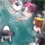 4girls black_hair blonde_hair breast_envy breasts closed_eyes flat_chest green_eyes hime_cut lamp large_breasts long_hair monoe monoko multiple_girls nude onsen open_mouth pink_hair poniko ponytail rapama short_hair short_twintails sweatdrop toriningen twintails yume_nikki |_| |_|_|