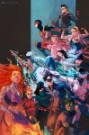 4girls 6+boys abs alien aqua_lad aqualad arm_cannon arrow bart_allen beast_boy bodysuit cassandra_sandsmark cloak cutout cyborg cyborg_(dc) dark_skin dc_comics dick_grayson domino_mask donna_troy dreadlocks electricity escrima_stick everyone fiery_hair fur fur_trim garfield_logan garth gills glowing glowing_eyes glowing_hair goggles green_eyes green_hair green_skin hairlocs hood jacket jamal_campbell kid_flash kon-el lipstick looking_at_viewer makeup mask midriff monkey's_paw monster_boy monster_girl multiple_boys multiple_girls nail_polish nightwing orange_hair orange_skin pointy_ears quiver raven_(dc) red_robin roy_harper scale_armor smile solid_eyes spandex speedy starfire static_(dc) static_shock sunglasses superboy tattoo teen_titans tim_drake undercut very_long_hair victor_stone virgil_ovid_hawkins visor water weapon whip wings wonder_girl