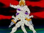 2boys 90s alien animated animated_gif battle boots dragon_ball dragonball_z frieza male_focus multiple_boys namek red_sky shirtless sky slapping son_gokuu super_saiyan tail violence