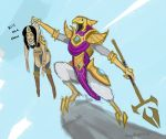1girl azir english league_of_legends sivir tagme talons text the_lion_king
