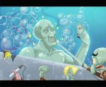 1girl 6+boys boots bubble cable cropped_jacket dual_wielding epic fabulous giant green_skin handsome_squidward jcm2 knee_boots nickelodeon no_humans parody patrick_star sea_creature sea_sponge shingeki_no_kyojin spongebob_squarepants spongebob_squarepants_(character) squid squidward_tentacles starfish sword underwater uniform weapon
