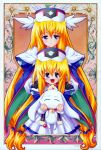 00s 2girls blonde_hair bodysuit cape dress dual_persona gloves head_wings long_hair looking_at_viewer multiple_girls smile ufo_princess_valkyrie valkyrie_(ufo_princess_valkyrie) violet_eyes