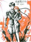 1boy 1girl illustration irene_lew ninja ninja_gaiden ninja_ryukenden ryu_hayabusa tecmo