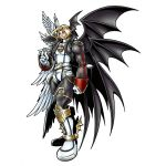 angel_wings bandai bat_wings blonde_hair boots claws concept_art demon demon_wings digimon digimon_world_re:digitize evil green_eyes lucemon lucemon_falldown_mode monster multiple_wings muscle no_humans official_art seven_great_demon_lords smile solo wings