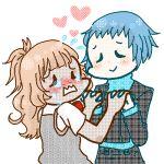 <3 2girls artist_request atlus blue_hair blush brown_hair chibi crying hand_holding lowres megami_tensei moriyama_natsuki multiple_girls persona persona_3 shin_megami_tensei tagme tears tomboy yamagishi_fuuka