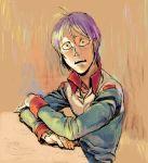 1boy freckles gundam kai_shiden male_focus military military_uniform mobile_suit_gundam purple_hair solo uniform utaco