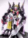 1boy armor bandai blackwargreymon blackwargreymon_x claws digimon digimon_world_re:digitize dk_(13855103534) full_armor gradient gradient_background horns kuga_yuuya male_focus monster muscle smile solo weapon white_background