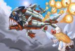 battleship blonde_hair crossover darius darius_gaiden fish hat kedama lily_white mecha pringles robot source_request space_craft storm_causer touhou wings
