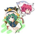 blue_eyes green_hair hat onozuka_komachi pink_hair rod_of_remorse scythe shikieiki_yamaxanadu short_hair touhou yuurakudou_kurono