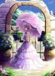 bare_back bird blonde_hair choker dress flower gate hair_ornament hair_ribbon hat highres house leaf light light_smile looking_back mountain parasol petals plant pot purple_rose ribbon rose saber_01 seagull sky solo stone sunlight touhou tree umbrella wall wood yakumo_yukari yellow_eyes