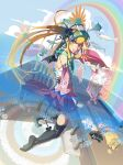 black_thighhighs blonde_hair brown_hair demon_girl detached_sleeves earrings fang fish flower from_behind games highres horns jewelry kneeling laughing long_hair looking_back miniskirt multicolored_hair pixelation playstation pleated_skirt ps2 psychedelic rainbow skirt skirt_lift sky smile solo tail thigh-highs thighhighs two-tone_hair very_long_hair visor vofan wings yellow_eyes zettai_ryouiki