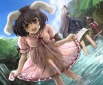 animal_ears black_hair blazer bob_cut bunny_ears dress dress_lift dutch_angle hamoto inaba_tewi laughing leaning_forward long_hair miniskirt multiple_girls payot pleated_skirt purple_hair rabbit_ears red_eyes reisen_udongein_inaba see-through short_hair skirt sky smile standing touhou water yagokoro_eirin