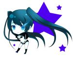 bikini_top black_hair black_rock_shooter black_rock_shooter_(character) blue_eyes boots chibi d_(pixiv544157) long_hair navel short_shorts shorts star transparent_background transparent_png twintails very_long_hair