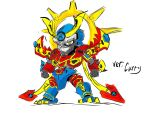 00s 1boy absurdres armor bandai chibi digimon digimon_frontier full_armor full_body highres male_focus mecha simple_background solo susanoomon white_background