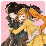 <3 arm_grab black_hair bow couple gyakuten_saiban gyakuten_saiban_5 hair_ornament hand_on_head hug kizuki_kokone multicolored_hair orange_hair ponytail yuugami_jin