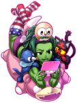 1girl :q american_flag_legwear ass chiba_toshirou crossover green_eyes green_hair hairband handheld_game_console legs_up litten lying marvel muscle nintendo_3ds on_stomach pokemon popplio print_legwear rowlet she-hulk simple_background slowpoke striped striped_legwear stuffed_animal stuffed_toy thigh-highs tongue tongue_out white_background younger