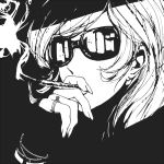 1girl cigarette lupin_iii mine_fujiko monochrome s_tanly smoking solo sunglasses