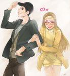 1boy 1girl artist_request big_hero_6 blonde_hair cap disney glasses happy heart honey_lemon marvel smile tadashi_hamada