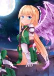 1girl :( blonde_hair breasts moon night tagme thigh-highs wings