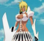 1girl arrancar bleach blonde_hair breasts clouds dark_skin espada green_eyes huge_breasts resurreccion screencap skirt solo stitched tier_harribel