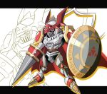 armor cape chibi digimon dukemon full_armor knight monster polearm royal_knights shield spear weapon
