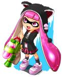 10s 1girl 2015 blooper dress hat inkling nintendo open_mouth pink_eyes signature solo splatoon super_mario_bros. tanu tentacle_hair water_gun weapon