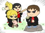 4boys banchou baseball_bat black_hair blonde_hair brown_hair bubblegum delinquent doubutsu_no_mori flower grass kasugai_(de-tteiu) lucas mother_(game) mother_2 mother_3 multiple_boys ness nintendo open_mouth outdoors short_hair sitting smile suit sunglasses super_smash_bros. the_legend_of_zelda the_legend_of_zelda:_the_wind_waker toon_link villager_(doubutsu_no_mori)