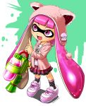 10s 1girl 2015 blooper dress hat inkling mask nintendo open_mouth pink_eyes signature solo splatoon super_mario_bros. tanu tentacle_hair water_gun weapon