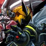 alphamon armor bandai blue_eyes cape digimon digimon_adventure digimon_adventure_tri. full_armor highres horns male_focus monster no_humans omegamon red_eyes royal_knights