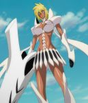 1girl arrancar bleach blonde_hair breasts clouds dark_skin espada from_below green_eyes resurreccion screencap skirt solo stitched tier_harribel