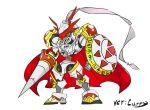 armor cape chibi digimon dukemon full_armor highres knight monster polearm royal_knights shield spear weapon