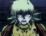 1girl blonde_hair blue_eyes blush hellsing military military_uniform screencap seras_victoria short_hair solo uniform vampire
