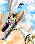 arm_cannon armor bandai cannon cape digimon fangs full_armor horns no_humans omegamon rotoyuki royal_knights sword weapon