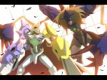 arm_cannon armor bad_id bandai battle blonde_hair cape diablomon digimon digimon_adventure digimon_adventure:_bokura_no_war_game epic evil full_armor glowing glowing_eyes green_eyes helmet highres horns monster no_humans omegamon red_eyes sword weapon