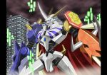 absurdres armor bandai cape city digimon fangs full_armor green_eyes highres horns no_humans omegamon royal_knights sword weapon
