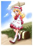 00s 1girl ashita_no_nadja blonde_hair blue_eyes blush boots bow dress hat hitchhiking kikurage_(crayon_arts) nadja_applefield outdoors road sigh standing suitcase