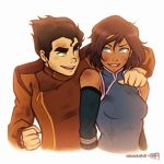 1boy 1girl arm_around_shoulder avatar:_the_last_airbender black_hair blue_eyes bolin brown_hair dark_skin dirty green_eyes iahfy korra long_gloves looking_at_another messy_hair nikoniko808 short_hair smile the_legend_of_korra