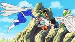 90s animated animated_gif boots cape cliff dabura devil dragon_ball dragonball_z green_skin halo kaioushin kibito multiple_boys piccolo red_skin son_gohan son_gokuu staring vegeta