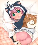 1girl animal_hood ass backpack bag bandai battle_spirits battle_spirits:_burning_soul bed bed_sheet black_thighhighs blush child fang green_eyes heart heart-shaped_pupils hood kuroda_kanna looking_at_viewer open_mouth pillow pink_hair sheet_grab shiny shiny_clothes short_hair shorts solo surprised symbol-shaped_pupils takeya_(tanuki) thigh-highs