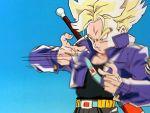 1boy 90s animated animated_gif belt blonde_hair dragon_ball dragonball_z future_trunks green_eyes jacket super_saiyan sword trunks_(dragon_ball)
