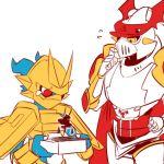 2boys armor cape digimon dukemon full_armor gold magnamon monster multiple_boys royal_knights sad tagme