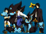 3boys age_progression black_hair blue_background carrying cloak crest emblem family_crest fang forehead_protector hair_over_one_eye luxio luxray multiple_boys multiple_persona naruto naruto_shippuuden pokemon pokemon_(game) shinx uchiha_sasuke