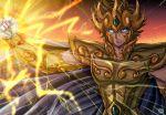 1boy aqua_eyes armor brown_hair cape clenched_hand gold_armor gold_saint leo_aiolia male_focus saint_seiya serious signature solo tsukasaki_ryouko upper_body