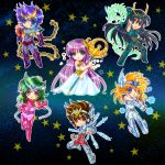 andromeda_shun aqua_eyes arm_up armor athena_(saint_seiya) bandage_over_one_eye black_hair blue_eyes boots brown_eyes brown_hair chains chibi circlet clenched_hands cygnus_hyoga dragon dragon_shiryuu dress fingerless_gloves gloves green_eyes green_hair long_hair open_mouth pegasus_seiya phoenix_ikki purple_hair saint_seiya smile staff star starry_background tsukasaki_ryouko vambraces very_long_hair white_dress