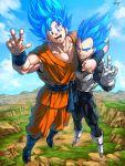 2boys arm_around_shoulder blue_hair dragon_ball dragonball_z flying kim_yura_(goddess_mechanic) looking_at_viewer male_focus multiple_boys smile son_gokuu spiky_hair super_saiyan super_saiyan_god_ss v vegeta