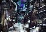 1girl city dark door dutch_angle fantasy from_behind highres icicle night original rene road scarf scenery skirt snow snowing solo stone_lantern street telescope vanishing_point walking