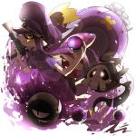 1girl black_shorts brown_eyes commentary crossover domino_mask dress_shirt drifblim duskull gastly hat highres holding holding_weapon inkling long_hair mask master_ball octoshot_(splatoon) peaked_cap pointy_ears poke_ball pokemon pokemon_(creature) purple_shirt shirt short_sleeves shorts splatoon tenmado_(mafo) tentacle_hair violet_eyes weapon